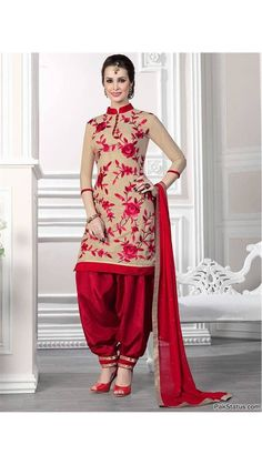 Buy SaiVeera Stylish Cream & Red Chanderi Embroidery  Cotton Patiala Style Un-stitched Dress Material Online at Low Prices in India - Paytm.com