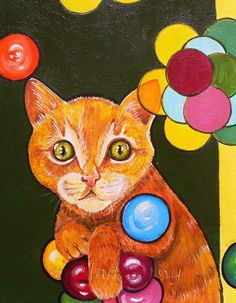 Cat Original Acrylic Painting Animals by SzufladaDany on Etsy, zł250.00