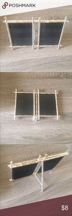 "Pottery Barn Picture Frame Pottery Barn silver bamboo 3""x 4"" double picture frame. Other"