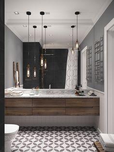 Albastru, alb și gri într-un proiect de amenajare modern pentru un apartament de 97 m² din Sankt Petersburg Jurnal de design interior Small Bathroom Inspiration, Bad Inspiration, Bathroom Ideas, Bathroom Storage, Modern Bathroom, Master Bathroom, Relaxing Bathroom, Interior Minimalista, Vanity Design
