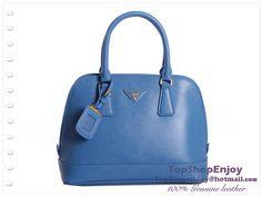 Prada Light Blue Saffiano Leather Tote Handbag BN2567 double leather handle  -  256.00   handbags-show.com 7642bcd623c45