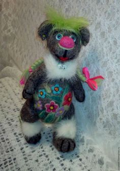 Купить Мишка Модница - авторская игрушка, игрушка ручной работы, игрушка из шерсти, игрушка в подарок