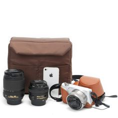 Coffee DSLR Camera Bag Insert One Body Two Lens B37