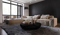 看膩了淺木與白牆的日式簡約搭配,想要換個沈穩的居家風格嗎?俄羅斯室內設計師 Anna Kolezneva 利用 3D 設計出具有成熟魅力的公寓。利用灰黑色電視牆與系統櫃,降低白色的比重,深木元素除了運用在地板外還延伸至牆面,讓客廳擁有舒適穩重的氛圍;善用異材質拼接與深淺色交錯,臥房改以深淺棕色為主,相較於黑色系的客廳,棕色調相對柔和,能呈現溫暖的感受。一樣是簡約的線條結構,只要換上沈穩的顏色,就能營造成熟穩重的居家風格。