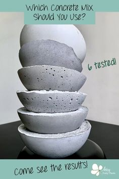Learn about making cement and concrete crafts. I tested 6 different types of cement crafts mixes; tested sealers, sheens and textures. Diy Concrete Planters, Concrete Bowl, Cement Art, Concrete Crafts, Concrete Art, Concrete Projects, Concrete Garden, Concrete Design, Diy Planters
