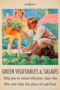 Green Vegetables Salads WWII Ministry Of Food 1940s - original vintage World War Two health propaganda poster listed on AntikBar.co.uk