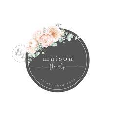 Premade Logo, Graphic Design, Business Logo, Logo Design, Feminine Logo, Round Logo, Photography Logo, Wedding Photographer Logo Floral Logo by TheBlushingElm on Etsy