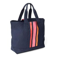 Gap Women Vertical Stripe Medium Utility Tote ($45) ❤ liked on Polyvore featuring bags, handbags, tote bags, navy, regular, navy tote bag, navy tote, handbags totes, canvas utility tote and navy blue tote bag