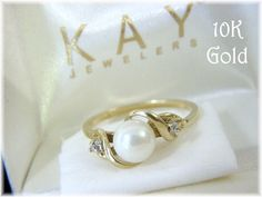 10K Gold - 6 mm Akoya White Pearl Diamond Ring - Size 7 - Kay Jewelers - The Perfect Gift - Gift Box - Estate Antique - FREE SHIPPING by FindMeTreasures on Etsy