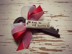 Key to my heart skeleton key ornament - hand stamped - red and white ribbon - tiny hearts - kraft paper box - Valentines Day Gift