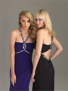 e33ed9546b Keyhole Halter Neckline With Crystals Front And Back Stretch Jersey Prom  Dress PD10783 ---