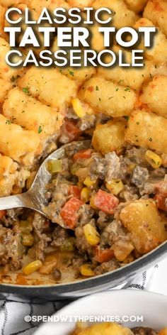 Simple ingredients and an easy cooking method make tater tot casserole a pleasing family favorite. It's a versatile and easy favorite. #spendwithpennies #tatertotcasserole #entree #maindish #recipe #groundbeef #crockpot #oven #cook #easy #cheesy Tater Tot Casserole, Casserole Dishes, Casserole Recipes, Meat Recipes, Dinner Recipes, Cooking Recipes, Meatloaf Recipes, Easy Cooking, Delicious Recipes
