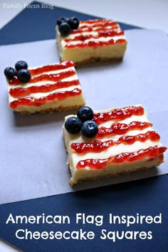 American Flag Inspired Cheesecake Squares Recipe- perfect dessert bars for a 4th of July party