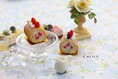 Dollhouse miniature dessert- Strawberry Cake Roll by CheilysMiniature on Etsy