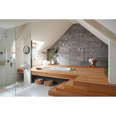 Un espace spa sous les combles. – A spa area under the eaves. Attic Bathroom, Modern Bathroom, Dyi Bathroom, Jacuzzi Bathroom, Tranquil Bathroom, White Bathroom, Bad Inspiration, Bathroom Inspiration, Dream Bathrooms