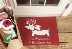 Don't show up empty handed for Christmas parties, take a useful hostess gift like a customized holiday doormat featuring a family dog breed. Here's an example of a Reindeer Dachshund from The Smoothe Store