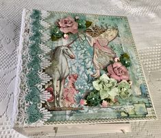 """Handmade Mini Album With Unicorns And Fairies, Size 8.5""""x8.5"""" with a 5"""" Spine, Stamperia Wonderland, Laces. Pre Made Scrapbook, Memory Album by cherylspapercreation on Etsy Unicorn And Fairies, Provence Lavender, Magical Images, Memory Album, Mini Photo, Wedding Scrapbook, Bridal Shower Gifts, Paper Decorations, Unicorns"""