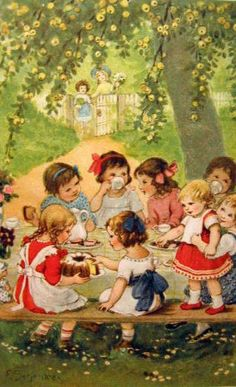 Tea Party, Franziska Schenkel (XX Century, German) I AM A CHILD