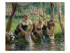 """Les Lavandieres, the Washerwomen"" 1895 by Camille Pissarro"