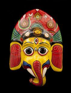 Masque Nepalais Ganesh Elephant Indra Jatra Nepal Papier Mache Mask 7195 | eBay