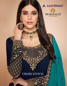 Get aashirwad cross stitch georgette salwar suit. Castillofab is salwar suits top wholesaler in india. Latest Pakistani Suits, Pakistani Dresses, Hand Work Blouse Design, Straight Dress, Straight Cut, Embroidered Clothes, Embroidered Blouse, Embroidery Suits, Embroidery Designs