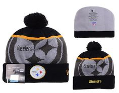 307f796b4 Mens   Womens Pittsburgh Steelers New Era NFL Fashion Gold Collection  Liquidchrome Logo Cuff Knit Beanie Hat With Pom - Black   Graphite
