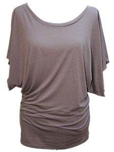 Buy Cheap YogaColors Crystal Boatneck Dolman Sleeve Blouse Jersey Tee Up to Plus Size (XX-Large, Dirt)
