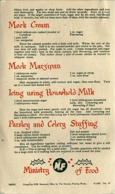 1945 War-Time Xmas Recipe Book Imagine Christmas time in years of war brought many changes to familiar festive rituals. Christmas celebrations often had to be scaled down or adjusted as restrictions and shortages took h… Retro Recipes, Old Recipes, Vintage Recipes, Cookbook Recipes, Cooking Recipes, Weekly Recipes, Cooking Tips, Free Recipes, Ethnic Recipes