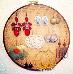 Burlap Stained Embroidery Hoop Earring Holder 8 inch  on Etsy, $8.00