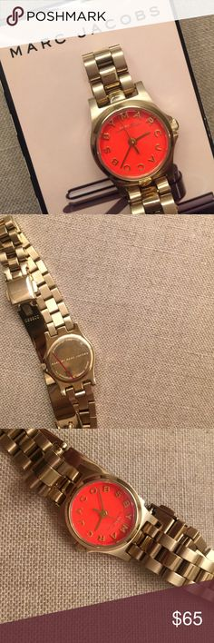 Marc Jacobs Orange and Gold Watch Never worn! Thin gold and orange Marc Jacobs watch. Add a fun pop of color to your outfit! Box not included. Requires new batteries. Marc Jacobs Accessories Watches