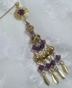 Amethyst and Gold Dangle Hijab Pin/Stick Pin/ Hat PinBrooch/Swarovski Crystal