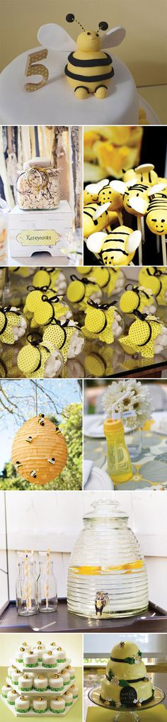 Have you heard the buzz?....such a cute party idea.  Love the bee hive pinata.