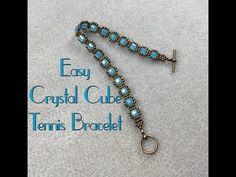 Easy Crystal Cube Tennis Bracelet Tutorial - YouTube Bohemian Bracelets, Handmade Bracelets, Fashion Bracelets, Healing Bracelets, Seed Bead Bracelets, Hemp Bracelet Patterns, Bracelet Making, Jewelry Making, Friendship Bracelets Designs