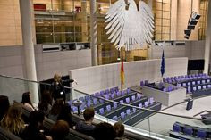 Students in the plenary hall of the Reichstag building