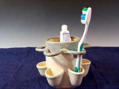 Ceramic Toothbrush Holder  Glacier White by BTRceramics on Etsy, $36.00