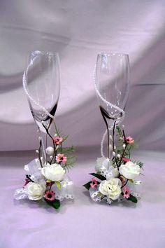 me ~ 2019 Elegant Trendy Wedding Champagne Glasses Decoration Bride And Groom Glasses, Wedding Wine Glasses, Diy Wine Glasses, Decorated Wine Glasses, Wedding Champagne Flutes, Painted Wine Glasses, Flute Champagne Glasses, Wine Glass Crafts, Wine Bottle Crafts