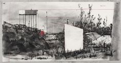 """William Kentridge, """"Drawing for 'Other Faces' """" charcoal and colored pencil on paper, 2011"""