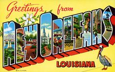 From our collection of vintage large letter, linen postcards from the and Greetings from New Orleans Louisiana. The postcard has been carefully scanned and retouched to look beautiful at even the largest print sizes. Louisiana Art, New Orleans Louisiana, New Orleans Art, Vintage Travel Posters, Vintage Postcards, Vintage Cards, Vintage Stuff, Cooler Painting, Free Canvas