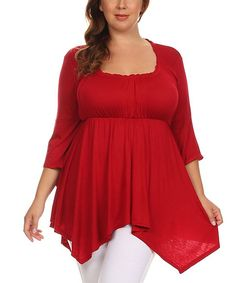 Red Bell-Sleeve Empire-Waist Top - Plus