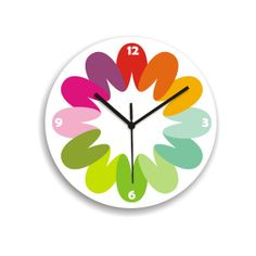 wall clock rainbow colorful bright bold by ArtisEverything on Etsy