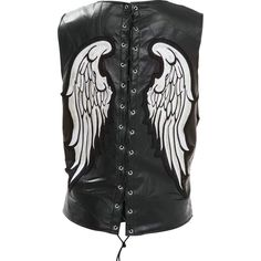 Ladies' Rock Design Genuine Leather Angel Wing Vest By Diamond Plate