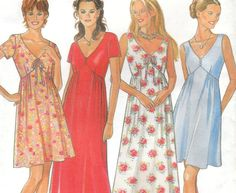 Empire Waist Summer Dress Pattern New Look Size by OneMoreCupOfTea