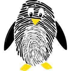 Basteln mit Fingerabdruck Pinguin