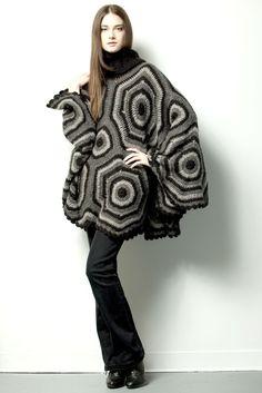 GIPSY PONCHO $245.- crochet in black & gray by Espiritu Folk. Black And Grey, Gray, Knitwear, Folk, Fur Coat, Crochet, Jackets, Collection, Design