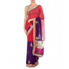 Purple and Red Embellished Sari