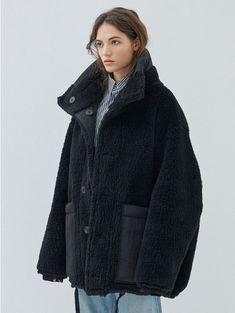 - Oversize riversible jumper coat- High neck design - Big pockets- Strap on bottom Measurements- Length Shoulder Chest Sleeve size Composition&Care- polyester acrylic- polyamid - Only Iranian Women Fashion, Cool Coats, Shearling Coat, Fashion Outfits, Womens Fashion, Fashion 2020, Coats For Women, Oversized Coat, My Style