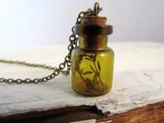Glass Bottle Necklace, Mini Bottle Pendant with Cork and Tiny Branch, Terrarium Jewelry, Potion, Apothecary.   Etsy.