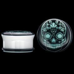 0 Gauge (8mm) Single Flared Sugar Skull Glow White Acrylic Plugs