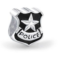 Patriotic 925 Silver Police Badge Cop Shield Bead Fits Pandora ($17) ❤ liked on Polyvore featuring jewelry, pendants, black, special occasion jewelry, holiday jewelry, star jewelry, evening jewelry, silver charms jewelry and charm jewelry