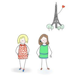BEST FRIENDS, SISTERS   Custom Illustration   Original made to order of you and your best friend or sister (digital file)   Paris